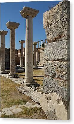 Turkey, Ephesus Ruins Of The Basilica Canvas Print by Emily Wilson