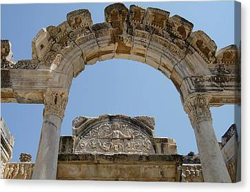 Turkey, Ephesus Temple Of Hadrian Canvas Print by Cindy Miller Hopkins