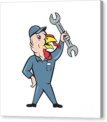 Turkey Mechanic Spanner Isolated Cartoon Canvas Print by Aloysius Patrimonio