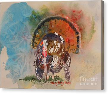 Canvas Print featuring the painting Turkey Time by Mary Haley-Rocks