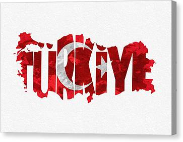 Dirty Canvas Print - Turkey Typographic Map Flag by Inspirowl Design