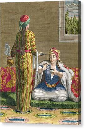 Turkish Girl, Having Coffee Canvas Print