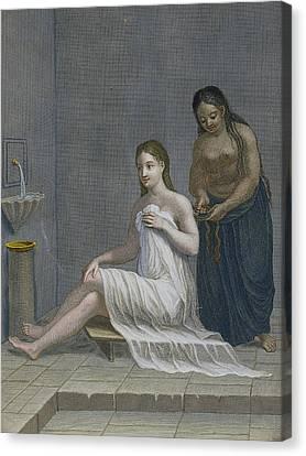 Turkish Girl, Having Her Hair Braided Canvas Print