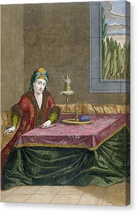 Turkish Woman Spinning Thread, C.1708 Canvas Print by French School