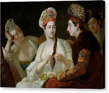 Turkish Women Oil On Canvas Canvas Print by Antoine de Favray