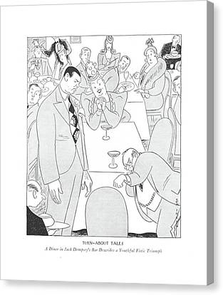 Boxer Canvas Print - Turn-about Tales  A Diner In Jack Dempsey's Bar by Rea Irvin