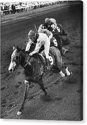 Turn To Reason Horse Racing Vintage Canvas Print by Retro Images Archive