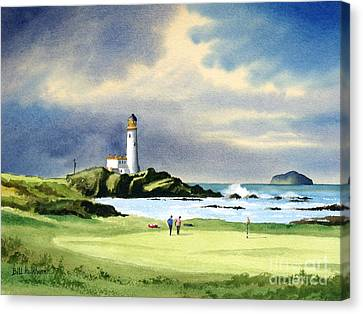 Canvas Print featuring the painting Turnberry Golf Course Scotland 10th Green by Bill Holkham