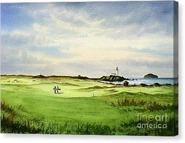 Canvas Print featuring the painting Turnberry Golf Course Scotland 12th Tee by Bill Holkham
