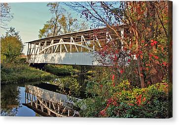 Canvas Print featuring the photograph Turner's Covered Bridge by Suzanne Stout
