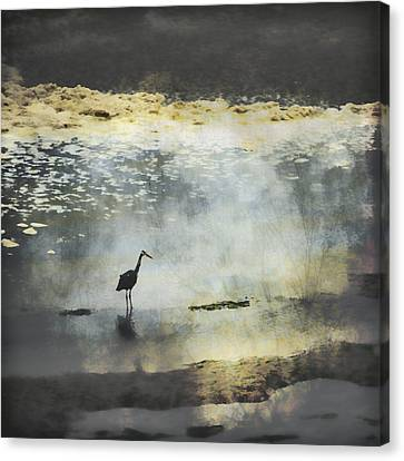 Great Blue Heron Canvas Print - Turning Of The Tide by Carol Leigh