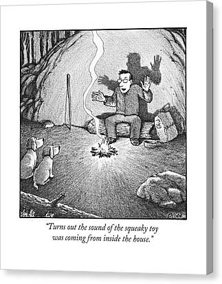 Ghost Story Canvas Print - Turns Out The Sound Of The Squeaky Toy Was Coming by Harry Bliss