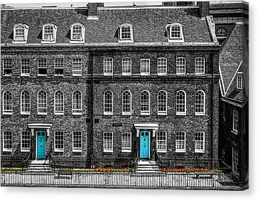 Turquoise Doors At Tower Of London's Old Hospital Block Canvas Print by James Udall