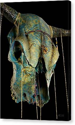 Turquoise And Gold Illuminating Steer Skull Canvas Print by Mayhem Mediums