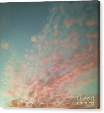 Turquoise And Peach Skies Canvas Print by Holly Martin