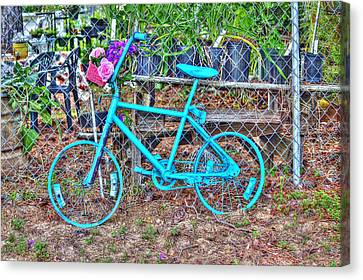 Turquoise Bicycle Canvas Print by Lorri Crossno