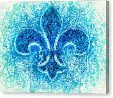 Turquoise Bleu Fleur De Lys Canvas Print by Janine Riley