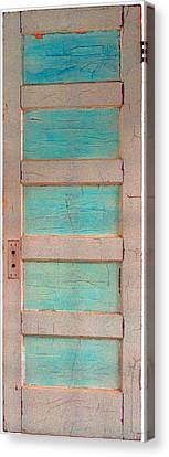 Turquoise Doorway And Ladder To The Sky Canvas Print