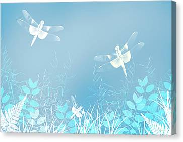 Turquoise Dragonfly Art Canvas Print by Christina Rollo