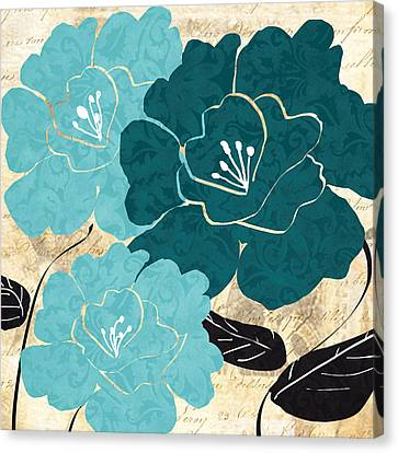 Turquoise Flowers Canvas Print by Lourry Legarde