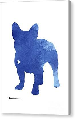Turquoise French Bulldog Silhouette Canvas Print by Joanna Szmerdt