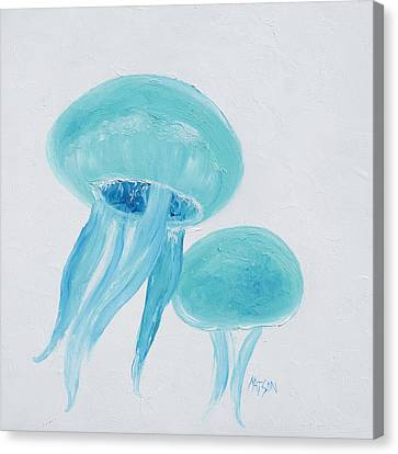 Beach Theme Decorating Canvas Print - Turquoise Jellyfish by Jan Matson