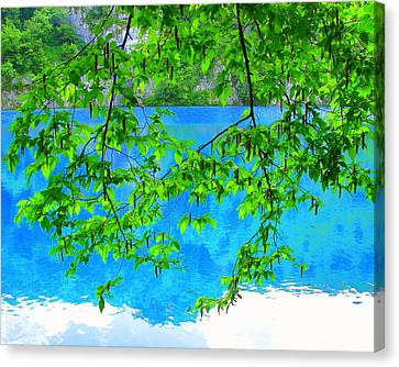 Canvas Print featuring the photograph Turquoise Lake by Ramona Johnston