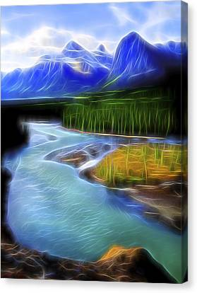 Canvas Print featuring the digital art Turquoise Light 1 by William Horden