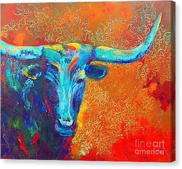 Canvas Print featuring the painting Turquoise Longhorn by Karen Kennedy Chatham