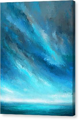 Turquoise Memories - Turquoise Abstract Art Canvas Print by Lourry Legarde