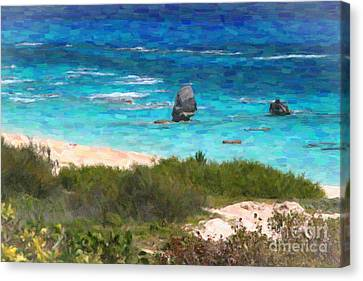 Canvas Print featuring the photograph Turquoise Ocean And Pink Beach by Verena Matthew