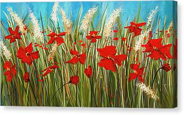Turquoise Poppies - Red And Turquoise Art Canvas Print by Lourry Legarde