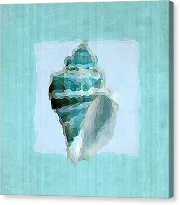 Turquoise Seashells Viii Canvas Print by Lourry Legarde