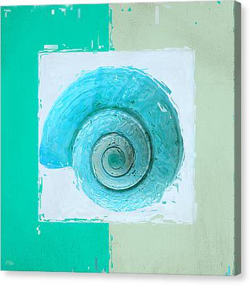 Turquoise Seashells X Canvas Print by Lourry Legarde
