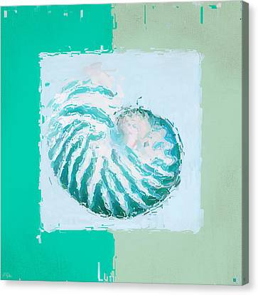 Turquoise Seashells Xii Canvas Print by Lourry Legarde