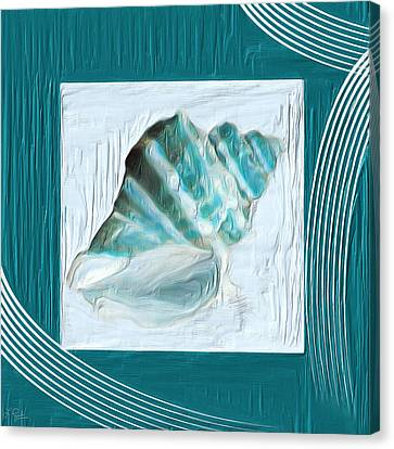 Navy Canvas Print - Turquoise Seashells Xxii by Lourry Legarde
