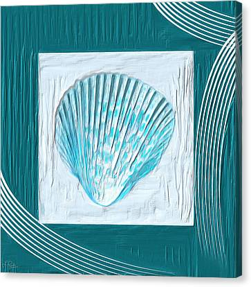 Navy Canvas Print - Turquoise Seashells Xxiii by Lourry Legarde