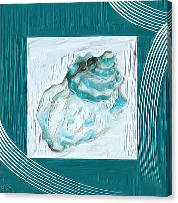 Turquoise Seashells Xxiv Canvas Print by Lourry Legarde
