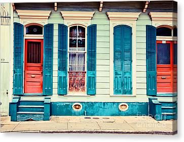 Canvas Print featuring the photograph Turquoise Shutters by Sylvia Cook