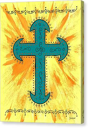 Canvas Print featuring the painting Turquoise Southwestern Cross by Susie Weber