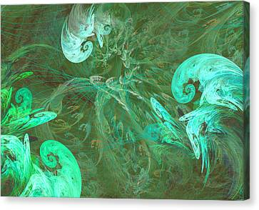 Turquoise Turbulance Canvas Print by Minnie W Shuler