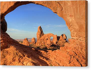 Canvas Print featuring the photograph Turret Arch Through North Window by Alan Vance Ley