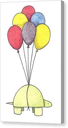 Turtle Balloon Canvas Print by Christy Beckwith