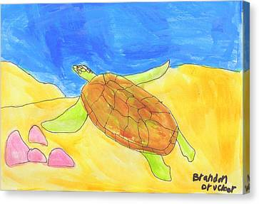 Canvas Print featuring the painting Turtle by Artists With Autism Inc
