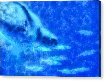 Turtle Shell Canvas Print - Turtle Diving by Priya Ghose