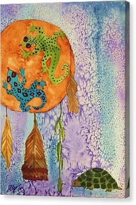 Turtle Dreaming Lizard Canvas Print by Ellen Levinson