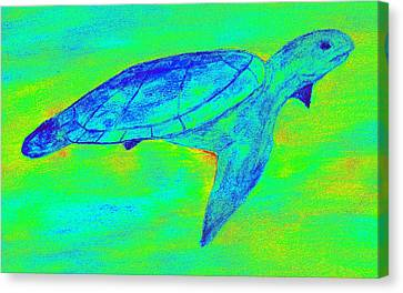 Turtle Life - Digital Ink Stamp Green Canvas Print by Brett Smith