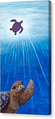 Canvas Print featuring the painting Turtle Painting Bomber Triptych 1 by Rebecca Parker