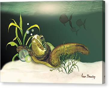 Turtle Swimming Over Reef Canvas Print by Anne Beverley-Stamps