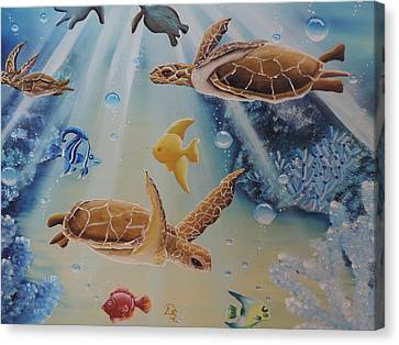 Canvas Print featuring the painting Turtles At Sea #2 by Dianna Lewis